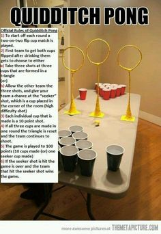 Quidditch beer pong!?!? shut the front door, I am so playing this instead of beer pong forever