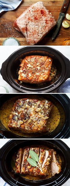 Creamy Garlic Pork Loin in Crockpot — Easy, comforting and tender pork loin in crockpot with the creamiest garlic sauce ever.