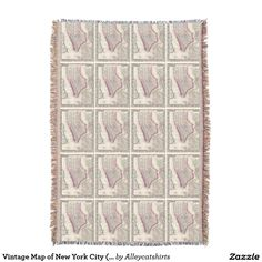 Vintage Map of New York City (1864) Throw Blanket