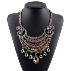 Vintage Fashion Gem Embellished Four Layers Artistic Hollow Arch Pendant Statement Necklace - Golden and Multicolor