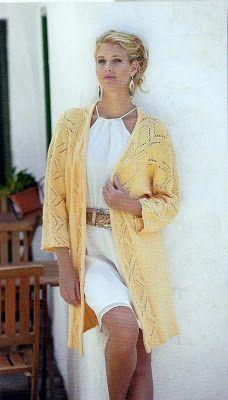 ВСЕ СВЯЗАНО. ROSOMAHA.: Длинный жакет-кимоно с ажурным узором