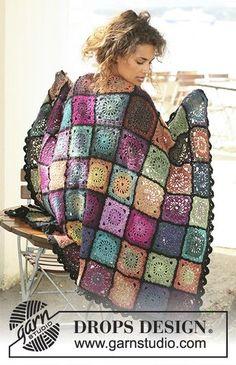 """Bohemian Oasis - Crochet DROPS blanket in """"Delight"""" and """"Fabel"""". : Bohemian Oasis – Crochet DROPS blanket in """"Delight"""" and """"Fabel"""". – Free pattern by DROPS Design Motifs Afghans, Crochet Motifs, Afghan Crochet Patterns, Crochet Squares, Free Crochet, Knit Crochet, Granny Squares, Scarf Patterns, Knitting Patterns"""