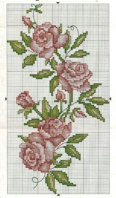 Crossstitch Roses / Flowers Pattern for embroidery Cross Stitch Love, Cross Stitch Borders, Cross Stitch Flowers, Cross Stitch Designs, Cross Stitching, Cross Stitch Embroidery, Embroidery Patterns, Cross Stitch Patterns, Beading Patterns