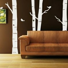 Birch logs wall decor