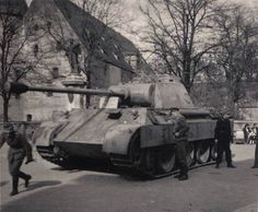 A Panther Ausf D captured and on display by Russian Forces with a sign assuring victory against the Facists