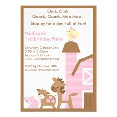 Girls Barn Animal Fun Birthday Party Announcement 4th Parties Happy 2nd