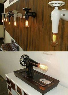 Me Collection: antique sewing machines upcycled by Stef van der Bijl SEW ME lamp by vanderBijl – design & interior Industrial Lighting, Vintage Lighting, Cool Lighting, Lampe Retro, Antique Sewing Machines, Deco Originale, Steampunk Lamp, Cool Lamps, Farmhouse Interior