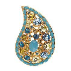 Rare Joan Rivers Yellow Gold GP Paisley Sparkle Pin + Black Diamond 201U #JoanRivers