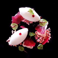 Lychee sorbet, hibiscus gel, almond butter powder, and hibiscus crisp by @acquerellosf #TheArtOfPlating