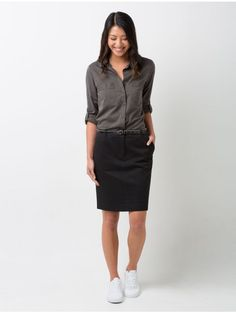Cargo Crew Todd Chino Skirt in Black paired with Rex Utility Shirt in Olive Green Corporate Uniforms, Uniform Shop, Work Uniforms, Fashion Pants, Women's Fashion, Skirt Outfits, Work Wear, Long Sleeve Shirts, Normcore