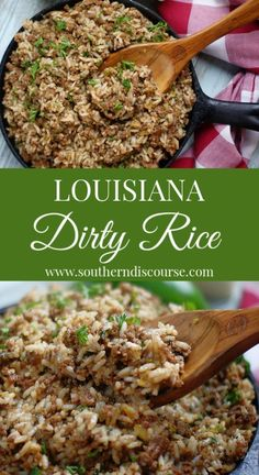 Southern Recipes Louisiana Dirty Rice – a southern discourse Creole Recipes, Cajun Recipes, Healthy Recipes, Healthy Food, Soul Food Recipes, Steak Recipes, Salmon Recipes, Soul Food Meals, Healthy Southern Recipes