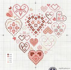 Hearts in hearts 1 of 2 Tiny Cross Stitch, Cross Stitch Boards, Cross Stitch Kitchen, Cross Stitch Heart, Cross Stitch Alphabet, Wedding Cross Stitch Patterns, Cross Stitch Designs, Cross Stitching, Cross Stitch Embroidery