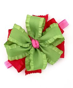 $10.99 Loving this Lime & Red Ruffle Bow Clip on #zulily! #zulilyfinds