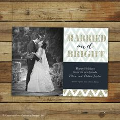 Married and bright newlywed holiday card or Christmas wedding announcement