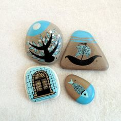 handpainted turquoise coloured stones