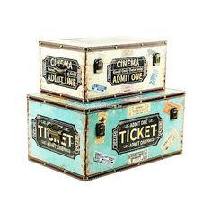 Kit Baús Decorativos Vintage Ticket (par)