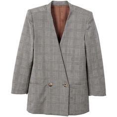 Check Wool Blazer (670 DKK) ❤ liked on Polyvore featuring outerwear, jackets, blazers, embellished jacket, checkered blazer, mango blazer, fleece-lined jackets and embellished blazer