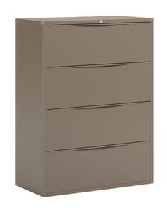 CSII 42 in. Lateral File Cabinet in Desert Sage by Mayline. $920.49. Four Drawers. Stylish and recessed drawer pull. Heavy duty. Full drawer extension on steel ball bearing telescoping slides. Anti-tipping drawer interlock system that allows only one drawer open at a time. Side to side rails support Legal and letter or A4 filing. 42 in. W x 18.38 in. D x 52 in. H (206 lbs.)