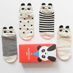 Cute Panda Cotton Socks ( 4 pairs )