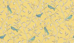 Finches (DOPWFI101) - Sanderson Wallpapers - A fanciful design of brightly printed birds juxtaposed onto a monotone pen & ink drawing of delicate entwined branches.  Shown with blue birds on a yellow background. Please ask for a sample for true colour match.