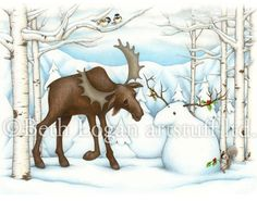 Moose and Snowmoose 11 X 14 print by bethlogan on Etsy, $18.00