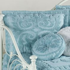 The quaint Intrigue Chenille Ruffled Bedspread Bedding makes your bedroom a cozy place. Cotton chenille Grande Oversized Bedspread features scroll and leaf. Ruffle Bedspread, Cozy Place, How To Make Bed, Pastel Blue, Bed Spreads, Illusions, New Homes, Tapestry, Throw Pillows