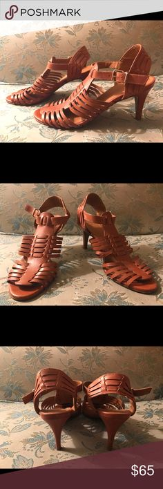 """J. Crew Strappy Leather Kitten Heel Sandals Excellent Condition, barely worn J. Crew 'Malta' sandals.  Natural tan color leather, strappy detailing. Tiny bit of wear on bottom of soles only, no wear on bottoms of heels. Minimal/ barely visible wear on heels themselves. No wear at all on any part of the upper or straps. Perfect with wide leg pants or safari dress. Padded sole, heel height is 2.76"""" Sold-out, rare style. Très chic! J. Crew Shoes Sandals"""