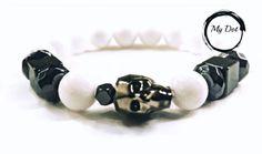 Skull Bracelet, Beaded Bracelets, White Beads, Swarovski, Dots, Unisex, Jewelry, Jewellery Making, Jewlery