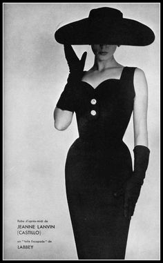 Model in black toile afternoon dress by Lanvin-Castillo, photo by Guy Arsac, 1954
