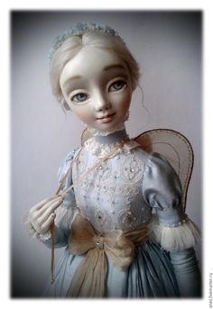 """Купить """"Ангелия"""" - голубой, авторская работа, дорогой подарок, ангел, интерьерная кукла, белый"""