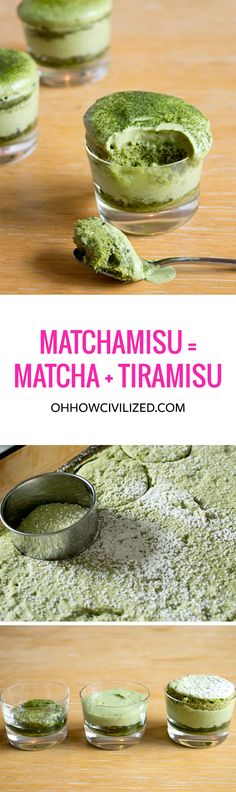 Matchamisu = Matcha (Green Tea) + Tiramisu (Sweet Recipes Step By Step) Green Tea Dessert, Matcha Dessert, Matcha Cake, Delicious Desserts, Dessert Recipes, Yummy Food, Tasty, Green Tea Recipes, Sweet Recipes