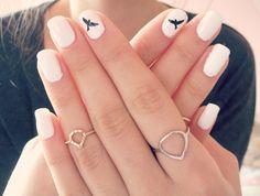 Monochrome Bird Nails
