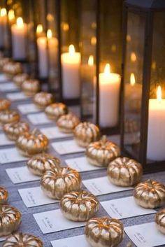 Looooove the little pumpkins spray painted gold. LOVE. And the pillar candles in tall square vases. | Jackie Fo: Pumpkin Party Decor