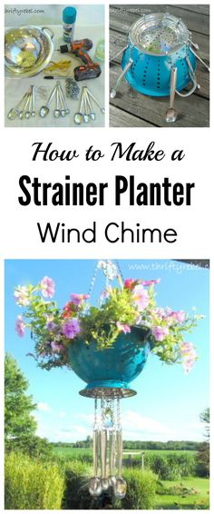 Make a strainer planter wind chime using thrifted finds to add some whimsy to your garden deck or patio.