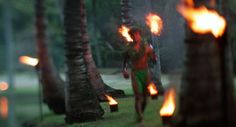 Traditional Luau Torchlighting