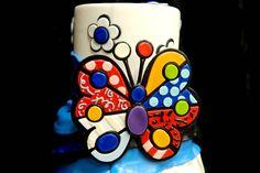 Cake inspired by pop artist Romero Britto Pretty Cakes, Beautiful Cakes, Amazing Cakes, Edible Creations, Cake Creations, Cupcakes, Cupcake Cakes, Flower Cake Design, Teacher Cakes