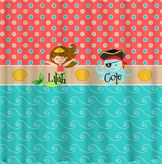pirate and mermaid shower curtain