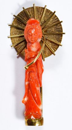 """Lot 263: 18k Gold and Coral Brooch Pin; Coral carved in the form of an Asian lady; marked """"K18"""" on bottom"""
