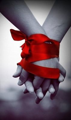 Bound together forever by Celebrating - Love - Red - Valentines Color Splash, Color Pop, Little Presents, Hold My Hand, Together Forever, Bind Us Together, Forever Love, Red Ribbon, Satin Ribbons