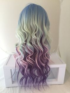 HALLOWEEN SALE // Rainbow Ombre Wig. Pastel Lavender by ExandOh Ombre Hair Color, Cool Hair Color, Aqua, Turquoise, Wig Styling, Ombre Wigs, Dream Hair, Rainbow Hair, Crazy Hair