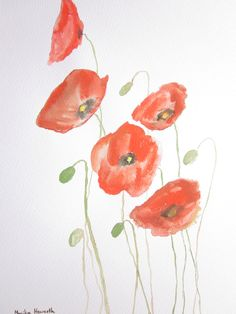 Handmade Art £35.00. A gift idea by Monika Howarth found on www.MyOwnCreation.co.uk: This is an original watercolour painting of poppies on 230 gsm acid free watercolour paper. Size: 10 x 15 inch. This artwork is painted and signed by me and unframed. A beautiful gift idea.
