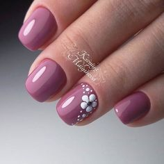 dark pink nails with flower design – Prom Nail Designs 2018