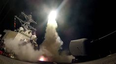 The U.S. military fired at least 50 cruise missiles at a military base of the Syrian government forces in the Homs province. Russian president calls U.S. attack aggression that runs counter to international law.