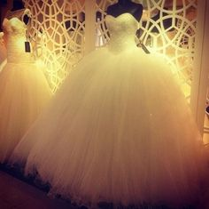 Tulle ball gown wedding dress with pearl bodice
