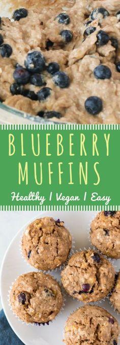 Blueberry Muffins #Healthier #vegan #OilFree #SugarFree
