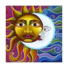 Eclipse sun and moon Original acrylic painting by Carla Bank. This is an original painting with Mr Sun and Mrs Moon that measures inches. Made with bright acrylics on canvas. Sun Moon Stars, Sun And Stars, Moon Symbols, Sun Art, Moon Design, Art Lessons, Giclee Print, Applique Quilts, Decoration