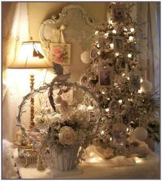 Table-top Christmas tree. Vintage white Easter basket re-decorated for Christmas.
