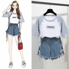 Womans Fashion Print Letters T-Shirt Tops + Short Jeans 2 Pieces Sets 2019 New S. Womans Fashion Print Letters T-Shirt Tops + Short Jeans 2 Pieces Sets 2019 New Summer Designer Women's Wide Leg Hot Pants Suit Source by RicopParker outfits korean Teen Fashion Outfits, Cute Fashion, Look Fashion, Trendy Outfits, Korean Fashion Teen, Classy Fashion, Party Fashion, Fall Outfits, Fashion Shoes