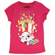 Sizes 4/5  6/7  8  10/12  14/16 Made From 50% Cotton 50% Polyester Label Moose Enterprises Shopkins Officially Licensed Shopkins Girls Shirt