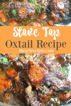 Stove Top Oxtails is a simple, one-pot comfort meal your family will love. The oxtails are seasoned with savory herbs & are fall-off-the-bone tender. Oxtail Recipes, Jamaican Recipes, Beef Recipes, Cooking Recipes, Family Recipes, Family Meals, Recipies, Authentic Mexican Recipes, Cooking Oxtails